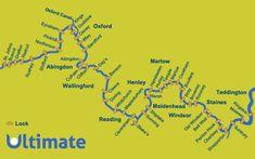 Map of the Thames with Locks River Thames, Kayaking, Locks, England, Boat, Adventure, Reading, Kayaks