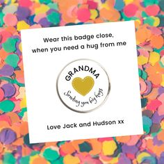 Send a HUG Lapel Pin Badge - Round 22mm / Love / Miss You / You've Got This / Stay Strong - Personalised / Gold or Silver Custom Metal Badge Custom Metal, Stay Strong, Pin Badges, Short Messages, Lapel Pins, Scratch Off, Big Hugs, Nickel Silver, Hug You