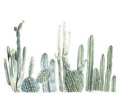 Vertical Cactus Print  cactus painting  cacti  cactus