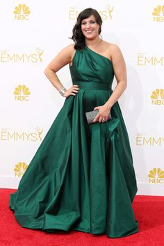 The Emmy Red Carpet's Most Amazing Plus-Size Looks #refinery29 http://www.refinery29.com/2014/08/73460/best-plus-size-emmy-looks#slide3 Allison TolmanFargo's breakout star Allison Tolman may have lost the Emmy, but in this fetching jewel-tone Romona Keveza gown and Swarovski bag, she brought all kinds of life to the red carpet.