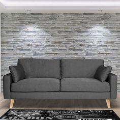 Canapé en tissu avec coussins et piètement bois STOWELL