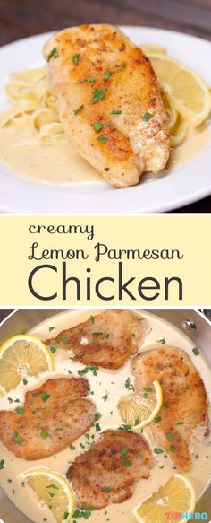 What's for dinner tonight? How about this creamy chicken dish?! Loaded with crowd pleasing ingredients like parmesan and lemon, this chicken dinner will not disappoint and is great for the whole family. Click for the recipe and see how easy this creamy lemon parmesan chicken is to make!