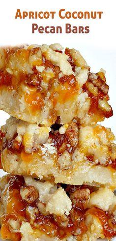 Apricot Coconut Pecan Bars use GF flour. Cookie Desserts, Cookie Bars, Fun Desserts, Delicious Desserts, Dessert Recipes, Bar Cookies, Bar Recipes, Brownie Recipes, Cookie Recipes