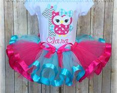 Birthday Owl with Bow Ribbon Trim Tutu by PurpleDaisyBoutique