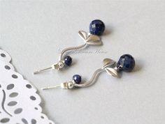 September Birthstone Earrings Sapphire Faceted by LemonDreamHouse