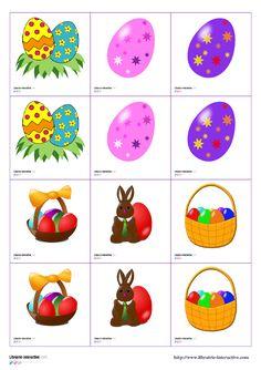 Un jeu de memory avec 24 paires d'images sur le thème de Pâques. Une version avec de belles images colorées (poules, lapins, oeufs, paniers, poussins, agneaux...)