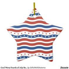 SOLD on Zazzle: Cool Wavy Fourth of July Red White Blue American Double-Sided Star Ceramic Christmas Ornament #Zazzle #America #Fourth #July #Flag #Star #SOLD