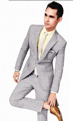 GQ summer style. light gray suit with yellow button up