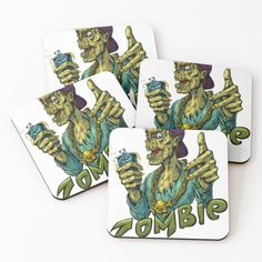 'Zombie' Coasters by Coaster Set, My Arts, Vibrant, It Is Finished, Cold, Art Prints, Cool Stuff, Printed, Awesome