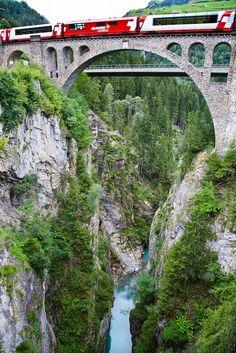 Rhaetian Railway Albula Bernina Glacier Express, Graubünden, Switzerland.
