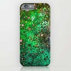 RAINBOW DOTTY OCEAN 3 Green Lime Ombre Space Galaxy Colorful Polka Dot Bubbles Abstract Painting Art iPhone & Samsung Galaxy Case by EbiEmporium | Society6