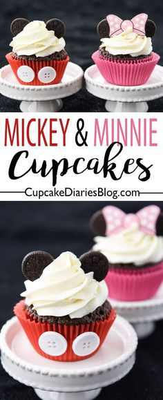 The Mickey and Minnie fans in your family are going to love these cupcakes! They're the perfect treat for a Mickey and Minnie birthday party. Or separately!