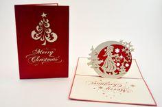 Christmas Card, Greeting Card 3D Pop Up, Christmas Tree, Beautiful Christmas, Pop up Tree, Merry Christmas, Moon Stars, Snow Flakes