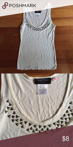 White Studded Scoop Neck Top || S White bronze studded scoop neck top. Apologies for wrinkles ! •Condition: Good! Not sure if studs fell off or not? Price reflects. •Brand: Realitee (listed as F21) •Size: Small  ♡Shipping 1-2 business days✨ ♡Smoke-free closet ♡No trades ♡Make offers using the offer button only (Price will not be negotiated through comments) ♡Bundle! 10% for two or more items!🛍 ♡Comment if you have any questions! Forever 21 Tops