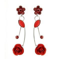 Glamorousky Rose Rouge Élégant Boucles D'Oreilles Avec Des Cristaux D'Élément De autrichien Rouge Et Verre De Cristal (501)
