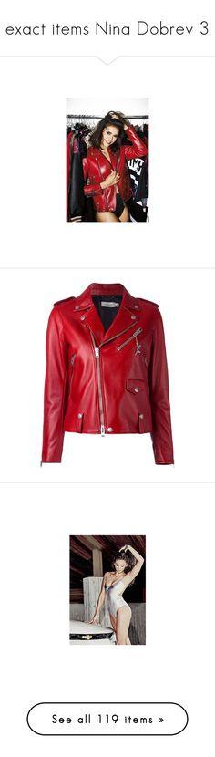 """exact items Nina Dobrev 3"" by marilia13 ❤ liked on Polyvore featuring outerwear, jackets, coats & jackets, coats, vestes, red, red biker jacket, coach jacket, studded moto jacket and rider jacket"