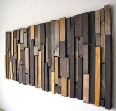 Arte de pared moderna de madera reciclada por RusticWarmthDecor