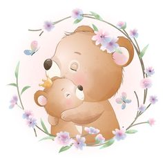 Baby Animal Drawings, Cute Drawings, Floral Illustrations, Cute Illustration, Doodles Bonitos, Doodle Bear, Birthday Gifts For Best Friend, Hand Drawn Flowers, Cute Clipart