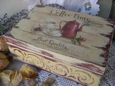 Coffee time, or tea bag box.