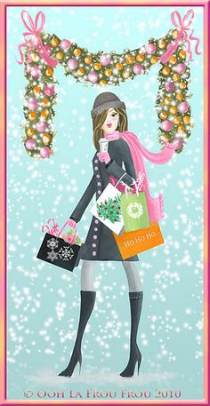 One of the Illustrated City Girls that stars in the Ooh La Frou Frou Collection Blog and Card Line by Artist Sandra Shelton Markwalder http://oohlafroufrou.blogspot.com