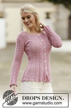 """Knitted DROPS jacket with lace pattern in """"Muskat"""" or """"Belle"""". Size: S - XXXL. ~ DROPS Design"""