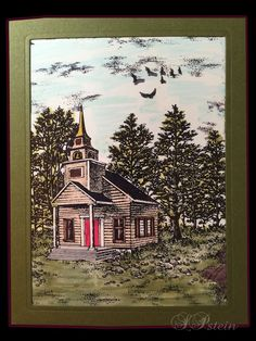 #Stampscapes - used Country Chapel, Gulls, Cloud Bits Rocks and Grass, and Pebbles.  Colored with Zig Brush markers