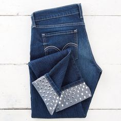 Turn your jeans into an expensive trendy-looking pair as seen at the department stores by adding DIY studs.