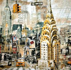 size: Stretched Canvas Print: In Manhattan by Tyler Burke : Using advanced technology, we print the image directly onto canvas, stretch it onto support bars, and finish it with hand-painted edges and a protective coating. Kitsch, A Level Art, Sense Of Place, Gcse Art, Painting Edges, City Painting, Urban Sketching, City Art, Art Sketchbook