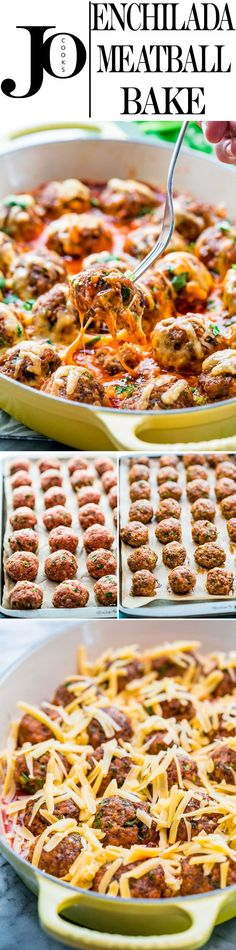 This Enchilada Meatball Bake encompasses everything you know and love about enchiladas, the taste, the flavors, the cheese, but made with meatballs. These enchilada meatballs are made with pork and beef, baked to perfection, crisp on the outside, baked in an enchilada sauce and smothered with cheese.