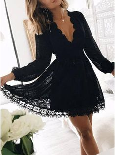 Fashion Long Sleeves V Neck Black Lace Homecoming Dresses Short Prom Hoco Dress Party Dress sold by Dresscomeon. Shop more products from Dresscomeon on Storenvy, the home of independent small businesses all over the world. Elegant Dresses For Women, Simple Dresses, Dresses With Sleeves, Ladies Dresses, Sleeve Dresses, Lace Sleeves, Short Sleeves, Long Sleeve Homecoming Dresses, Dresses Short