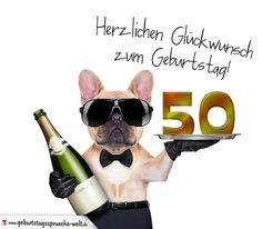 Glückwunschkarte mit Hund zum 50. Geburtstag - Geburtstagssprüche-Welt