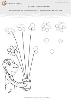 Activité Maternelle de Graphisme GS Ponts à l'endroit – Chez le fleuriste complète le bouquet en dessinant les pétales de fleurs qui manquent. Montessori, Maternelle Grande Section, French Alphabet, School Worksheets, Hosting Company, Home Schooling, Kids Learning, Activities For Kids, Kindergarten