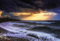 At Atlantic Ocean by ceca67  Spain Tenerife beach clouds light ocean sea seascape sky travel water waves ceca67