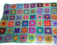 Crochet afghan kaleidoscope granny square by CrochetKaleidoscope