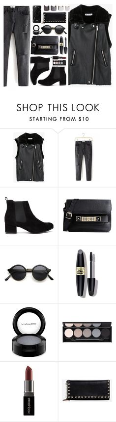 """""""All Black"""" by genuine-people ❤ liked on Polyvore featuring Proenza Schouler, Max Factor, MAC Cosmetics, Witchery, Smashbox, Valentino, Luv Aj, women's clothing, women's fashion and women"""