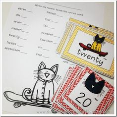Pete the Cat Centers- matching math center for numerical form and word form. My second graders always struggle with word form!