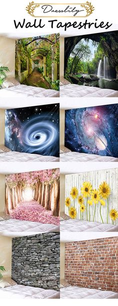 Forest waterfall scenery, galaxyblack hole, flower and brick wall art tapestry. Cheap Wall Tapestries, Wall Tapestry, Forest Wallpaper, Watercolor Walls, Creation Deco, Wall Art For Sale, Trendy Wallpaper, Hanging Wall Art, Cool Walls
