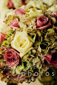 Want a BIG floral look on a small budget? Utilize hydrangea to create volume, then stud in a few roses to layer the look.