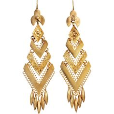 Olivia Collings Antique Jewelry Gold Chevron Fringe Earrings (32.320 VEF) ❤ liked on Polyvore featuring jewelry, earrings, accessories, brincos, boucles d'oreilles, gold jewellery, 18k earrings, fringe earrings, fringe jewelry and chevron jewelry