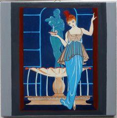 #piastrella #liberty 20cm x 20cm. Riproduzione da George Barbier. Art Nouveau.