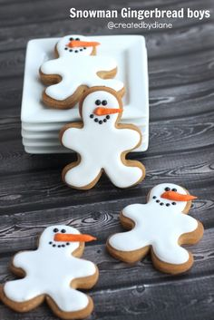 Gingerbread cookies are iced like snowmen for these super-FUN Cookies. The noses are made out of royal icing and added on.