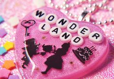 Pink Heart Wonderland Resin Glitter Necklace By by SugarRaindrop, $25.00