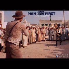 Han Shot First #hansolo #indianajones #hanshotfirst #lucasfilm #starwars #raidersofthelostark #swordman #scene #harrisonford #chewbacca #gun #shots #against #disney #mashup #funnypictures #art #photomanipulation #bobphotography