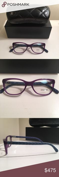 New Chanel purple glasses blue quilted leather 100% authentic. New and never worn. Glasses are purple and the arms are blue quilted leather. Comes with box, case, and cleaner. CHANEL Accessories Glasses