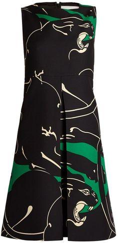 Valentino Panther-print wool and silk-blend midi dress
