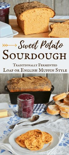 real Sweet Potato Sourdough Bread that uses traditional fermentation to achieve the perfect balance of flavor and better digestibility. This generous recipe makes plenty of English Muffins, 2 Soft Sandwich Loaves or some of each! Sourdough Recipes, Bread Recipes, Real Food Recipes, Sweet Sourdough Bread Recipe, Starter Recipes, Keto Recipes, Sourdough English Muffins, Sandwich Loaf, Potato Sandwich