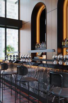 Castell Rooftop Bar Location: New York Design studio: BHDM Architectural Visualisation: VisEngine Digital Solutions Bar Interior Design, Restaurant Interior Design, Lounge Design, Bar Lounge, Club Bar, Bar Counter Design, Design Commercial, Luxury Bar, Luxury Hotels