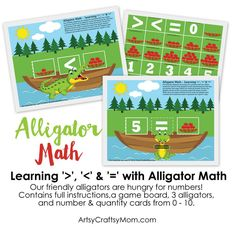 Printable Alligator Math Game - Learning Greater Than, Less Than, and Equals with Alligator Math - kids have fun with the alligator mouth representing the less than and greater than signs.