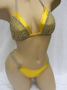 String Bikini in gold with lace by bikinibunny on Etsy, $32.00