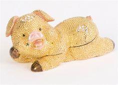 Golden Swarovski Pig Trinket box